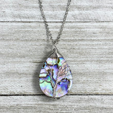"Load image into Gallery viewer, Tree of Life Teardrop Abalone Shell Wire Wrapped Pendant 18"" White Gold Necklace"