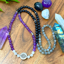 Load image into Gallery viewer, 8mm Elizabeth April AWAKEN Protection & Activation Limited Edition Stretch Mala Bracelet Necklace
