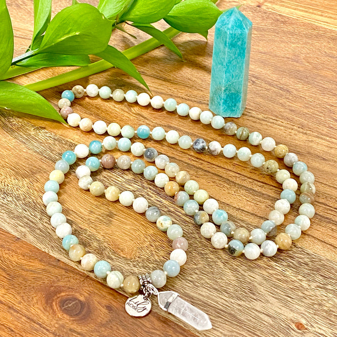 Australian Amazonite Clarity Peace 108 Hand Knotted Mala with Point Charm Pendant Necklace