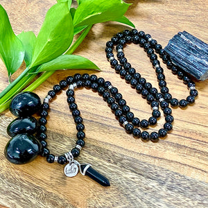 Black Tourmaline Ultimate Grounding & Protection 108 Mala Necklace Bracelet