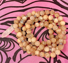 Load image into Gallery viewer, Peach Moonstone Heart Opening & Activation 108 Stretch Mala Necklace Bracelet