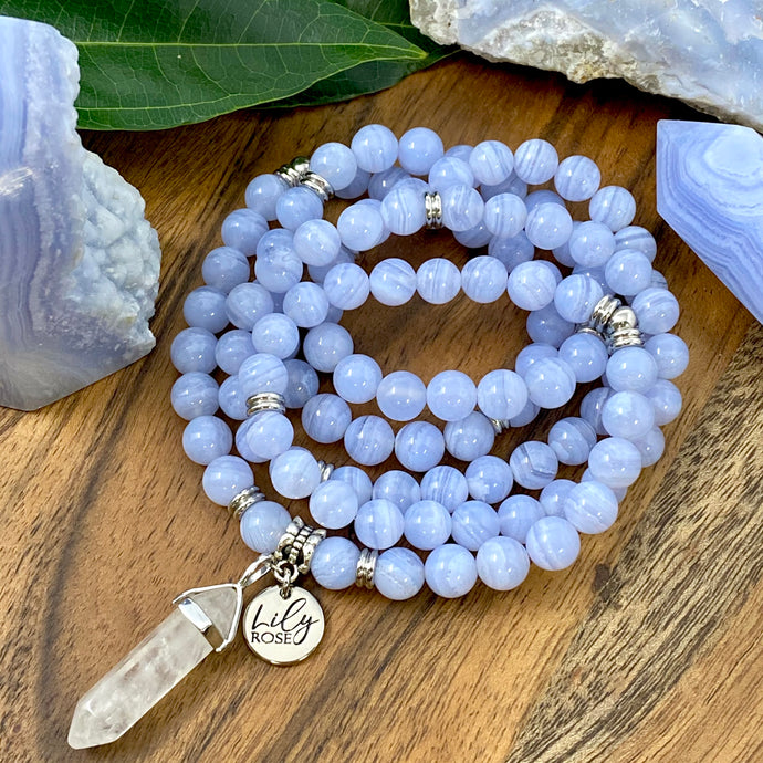 Super Limited Blue Lace Agate Goddess Relaxation 108 Mala Necklace Bracelet