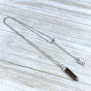 "Last one!! Smoky Quartz Purification & Invisibility Cloak Mini Point Tower Pendant 18"" White Gold Necklace"