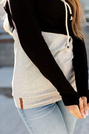 Cowl Neck Sweatshirt - Black Herringbone