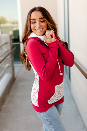 DoubleHood Sweatshirt - Cranberry Lace
