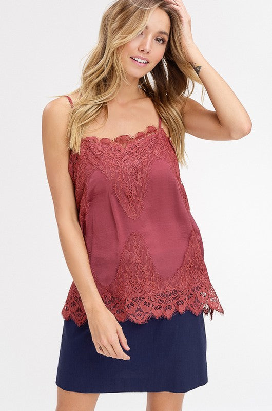 Lovely Lace Camisole - Red