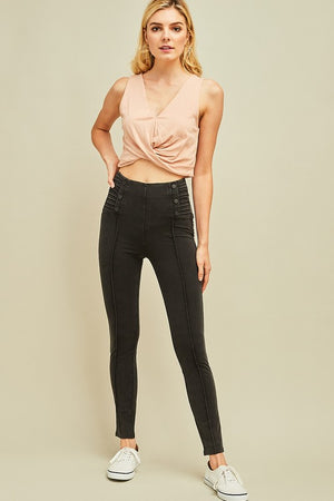 Acid Washed High Waist Legging Pants