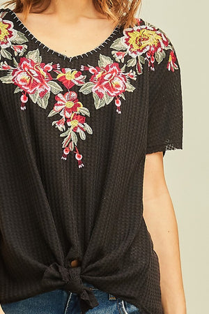 Astara Embroidered Waffle Knit Top