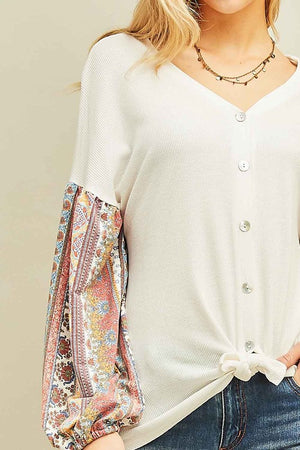 Poppy Thermal Knit Ornate Top