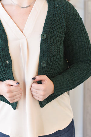Stormi Cropped Cardigan - Forest Green