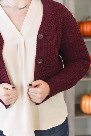 Stormi Cropped Cardigan - Wine