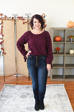 Amie Crinkle Pleated Top - Plum