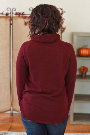 Charlene Cowl Neck Sweater - Burgundy
