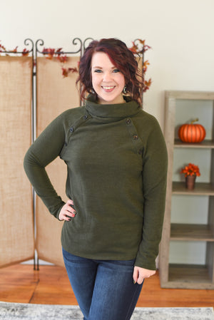 Charlene Cowl Neck Sweater - Olive