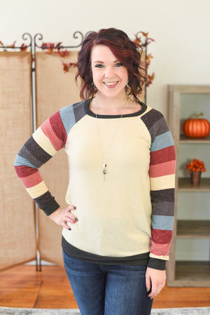 Norah Striped Sleeve Sweater
