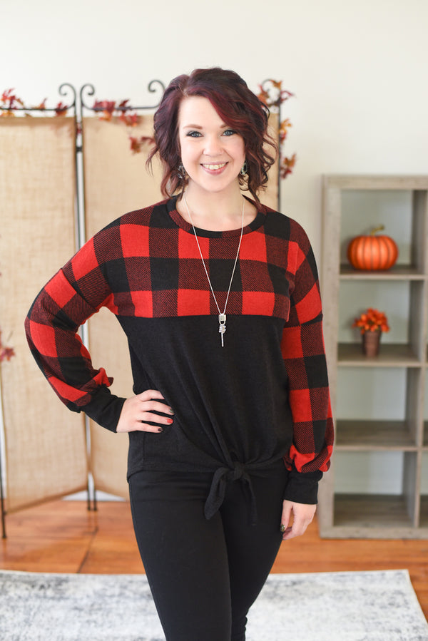 Buffalo Plaid Tie Front Sweater - Red