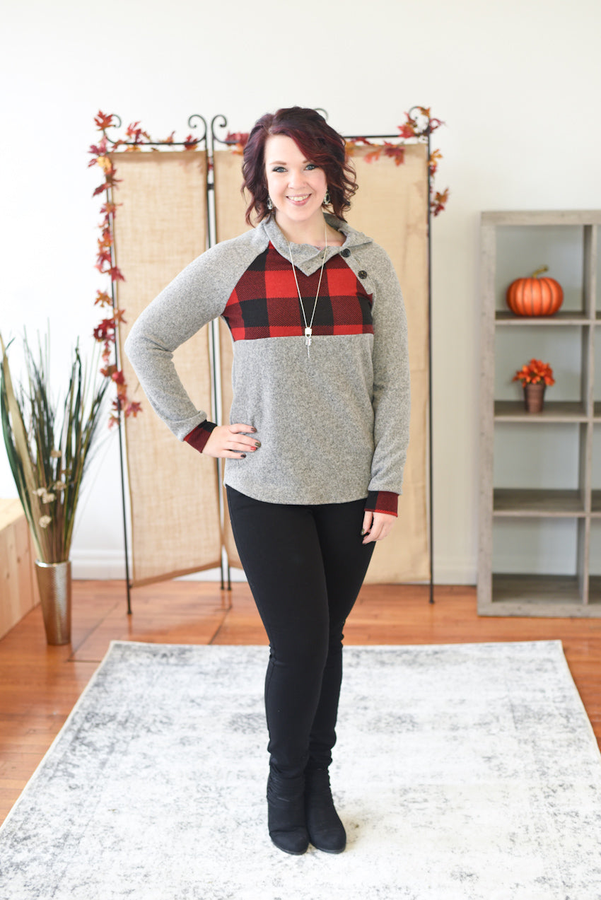 Campfire Buffalo Plaid Sweater - Red