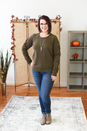 Eliza Lace Up Sleeve Pullover - Olive