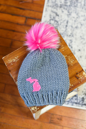 Michigan Pom Beanie - Adult