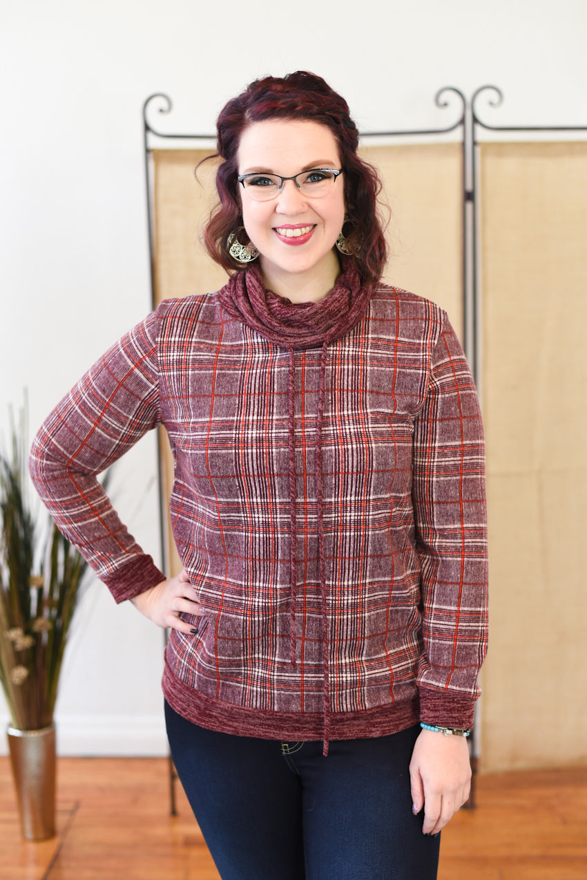 Nicola Plaid Cowl Neck Sweater