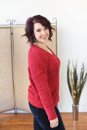 Festive Popcorn Sweater - Burgundy