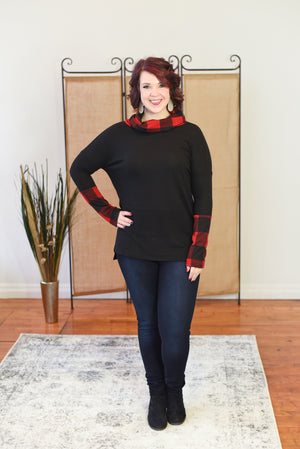 Merry Buffalo Plaid Cowl Neck Sweater