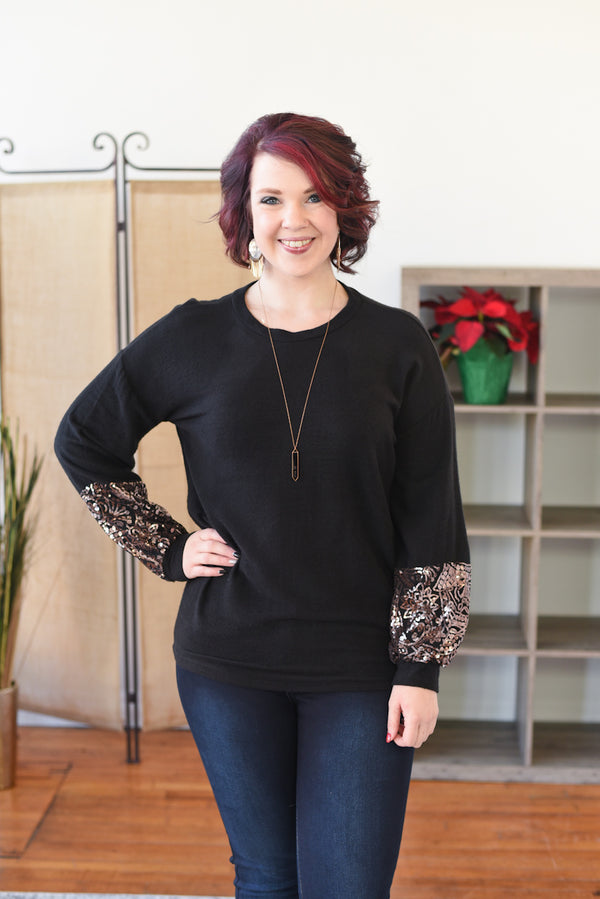 Nadia Sequin Sleeve Sweater