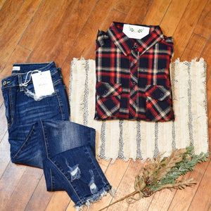 Plaid Bliss Shirt - Navy & Red