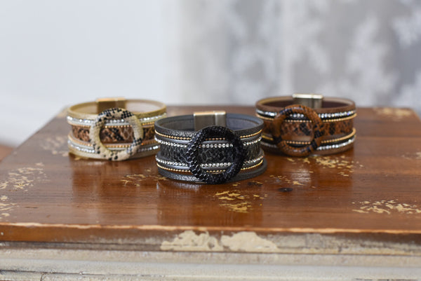 Animal Print Layered Magnetic Bracelet