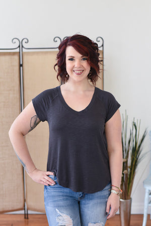 Lily Essential Burnout Top - Charcoal