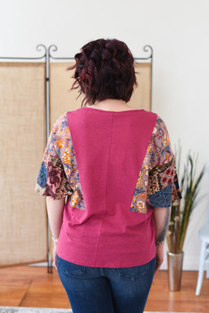 Cailla Mixed Print Top - Raspberry