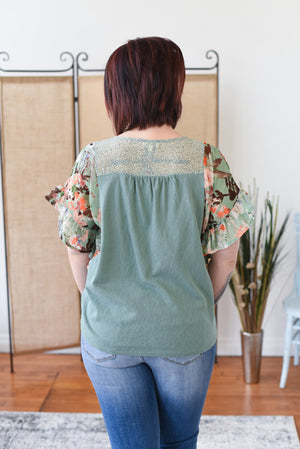 Sage Ruffle Sleeve Top