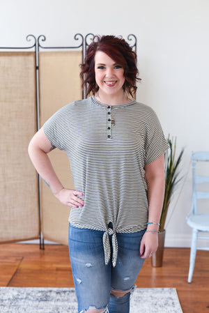 Lulu Striped Button Down Top - Grey