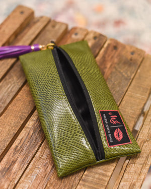 Makeup Junkie Bag - Mini Olive Snakeprint