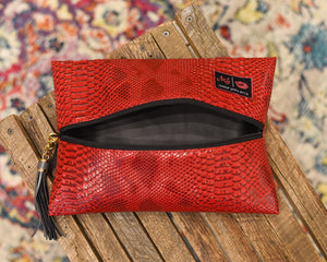 Makeup Junkie Bag - Medium Red Cobra