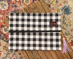 Makeup Junkie Bag - Large B&W Plaid Canvas