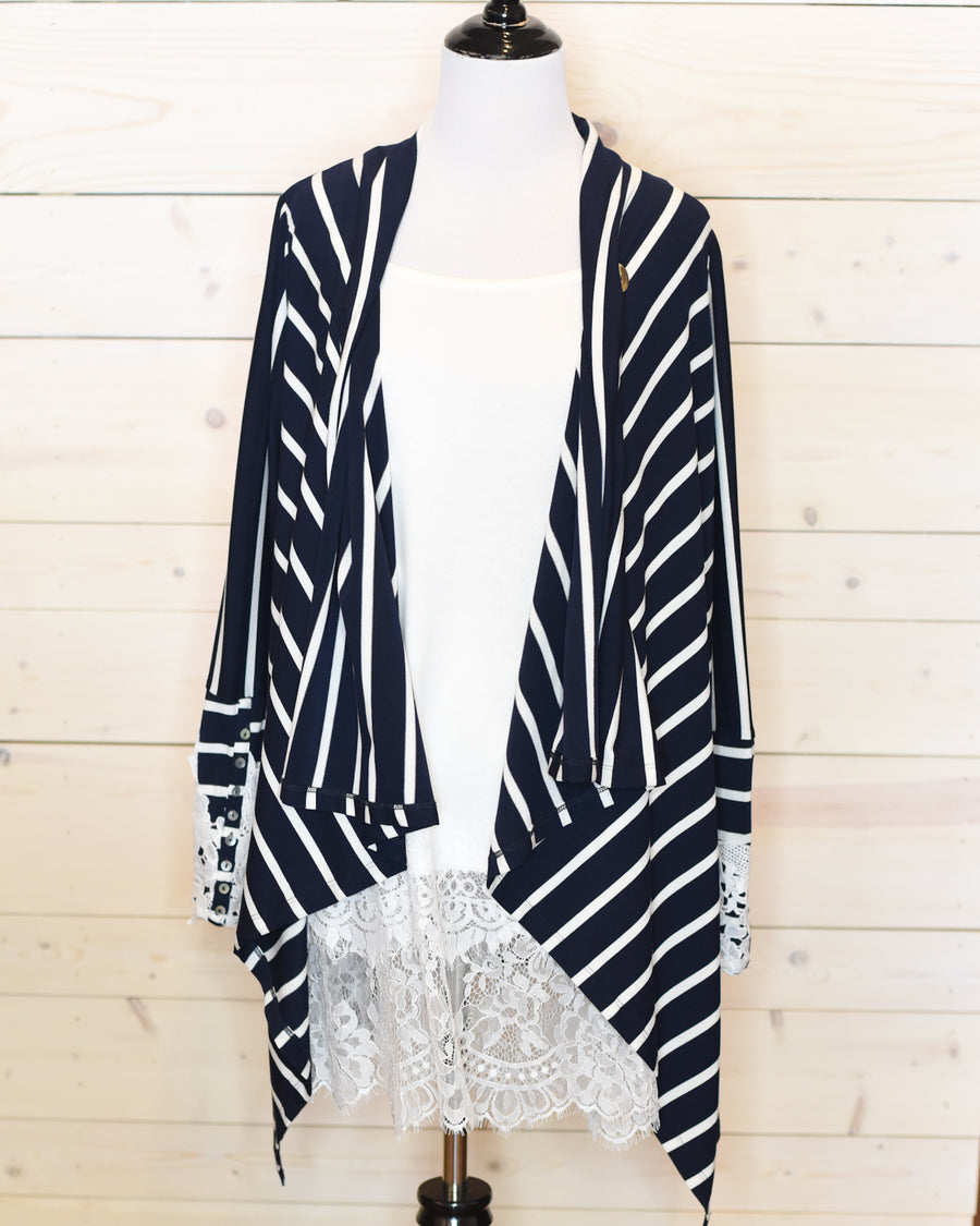 Adele Cardigan - Navy & White