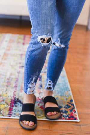 Adaliya Distressed Animal Print Kancan Jeans