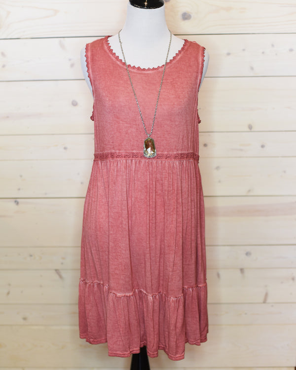 April Sleeveless Dress - Muted Coral