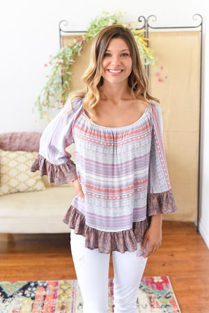 Violet Ruffle Top