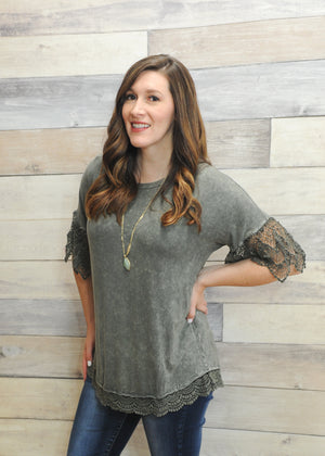 Lydia Acid Washed Crochet Trim Top