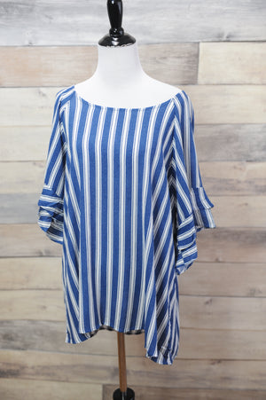 Mae Striped Ruffle Sleeve Top