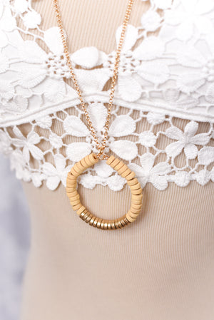 Juno Circular Wood Necklace