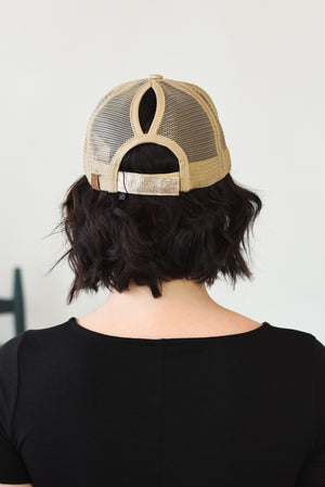 Glitter Ponytail Baseball Hat