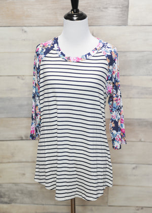 Lily Striped & Floral Baseball Tee