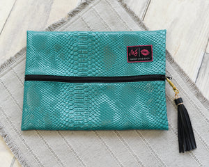 Turquoise Cobra - Makeup Junkie Bag Small