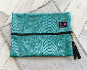 Turquoise Cobra - Makeup Junkie Bag Large