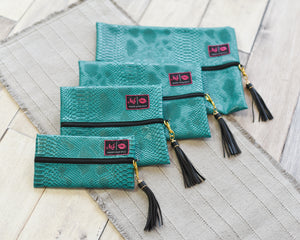 Turquoise Cobra - Makeup Junkie Bag Medium