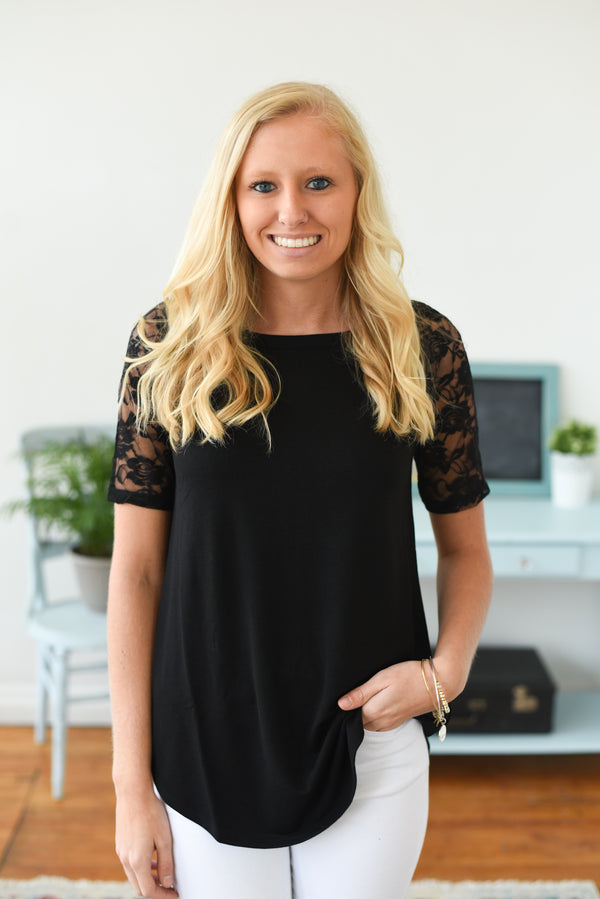 Everyday Lace Short Sleeve Top - Black