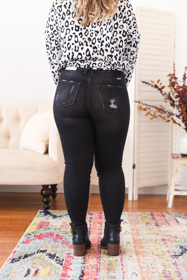 Helena Washed Black High Rise Kancan Jean